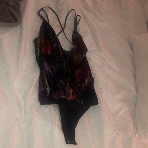 NWOT Velvet Floral Bodysuit